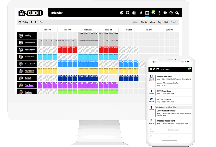 Clockit Retail Boardview Screenshot